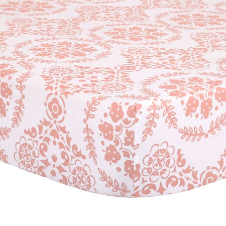 The Peanut Shell Baby Crib Fitted Sheet - Coral Pink Floral Medallion Print - 100% Cotton Sateen, Fits Standard 52 by 28 Inch Mattress ()