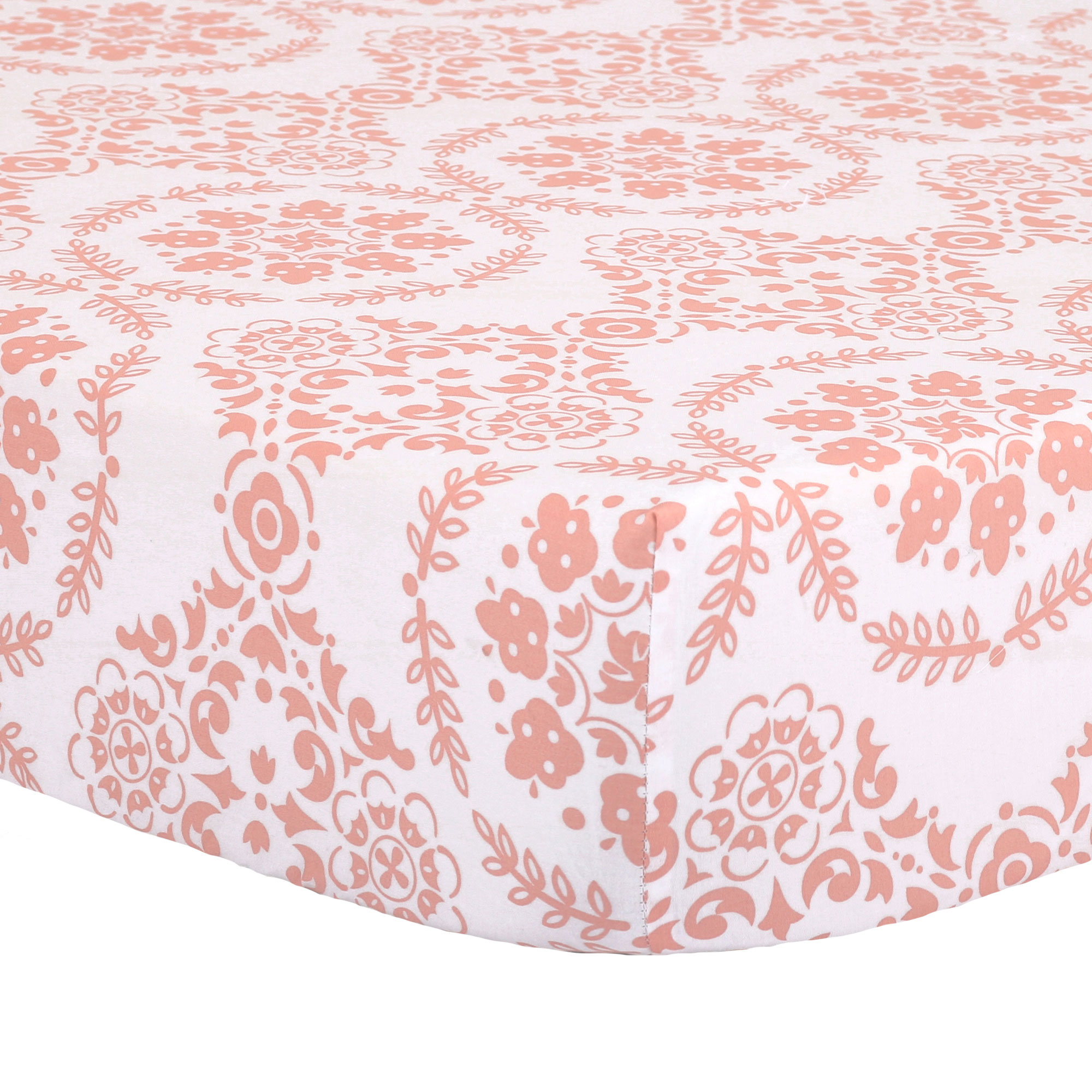 The Peanut Shell Baby Crib Fitted Sheet - Coral Pink Floral Medallion Print - 100% Cotton Sateen, Fits Standard 52 by 28 Inch Mattress