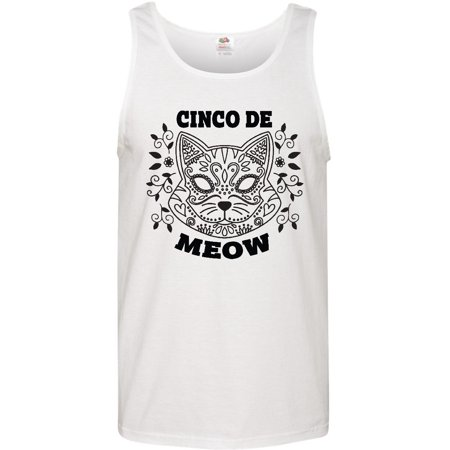 Cinco De Meow with Cat Sugar Skull and Flowers Men's Tank Top - Sugar Skull Cat