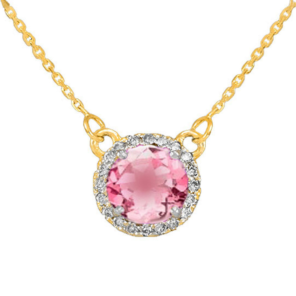 14k Gold Diamond Pink Tourmaline Necklace by