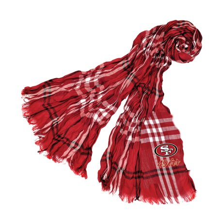 - Little Earth - NFL Crinkle Plaid Scarf, San Francisco 49ers