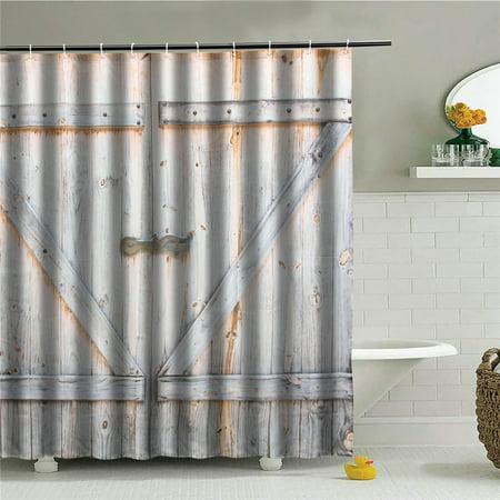 12 Hooks Waterproof Wood Door Printing Shower Curtain 3D Bathroom Free 70x70''  - image 4 de 6