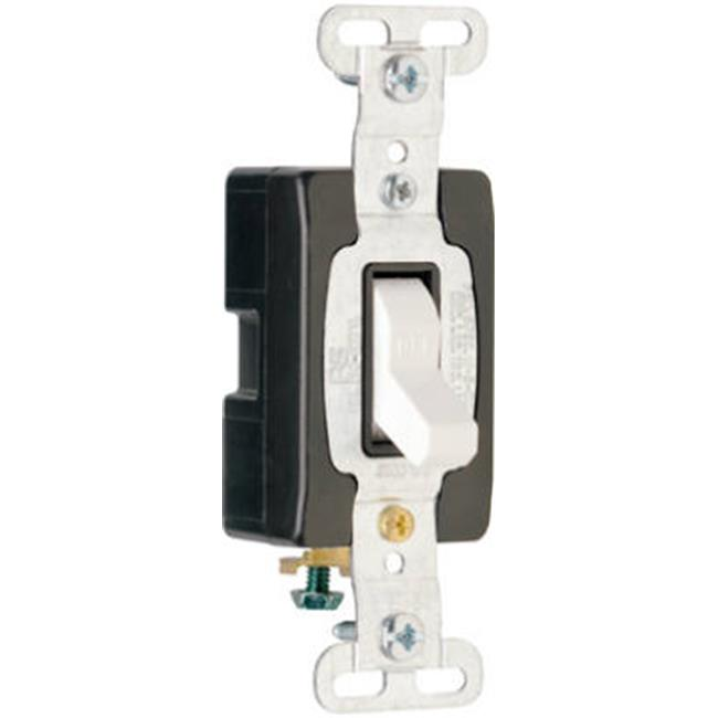 Pass & Seymour CS15AC1WCC8 Single Pole Toggle Switch, 15A, White - image 1 de 1