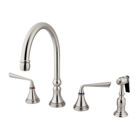 UPC 663370043376 product image for Elements of Design Silver Sage Double Handle Deck Mount Kitchen Faucet with Bras | upcitemdb.com