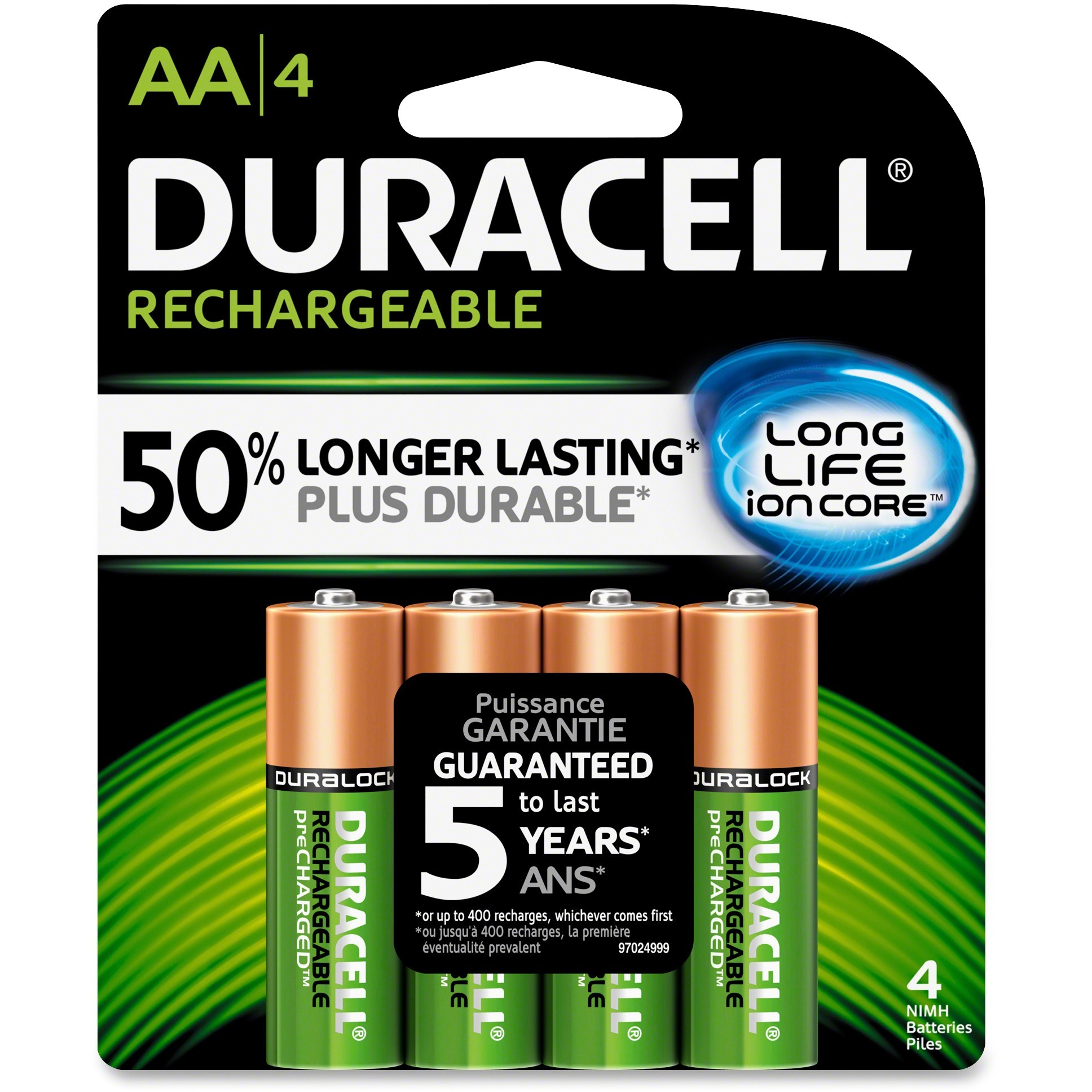 Duracell, DURNLAA4BCD, 2400mAh Rechargeable NiMH AA Battery - DX1500, 4 / Pack