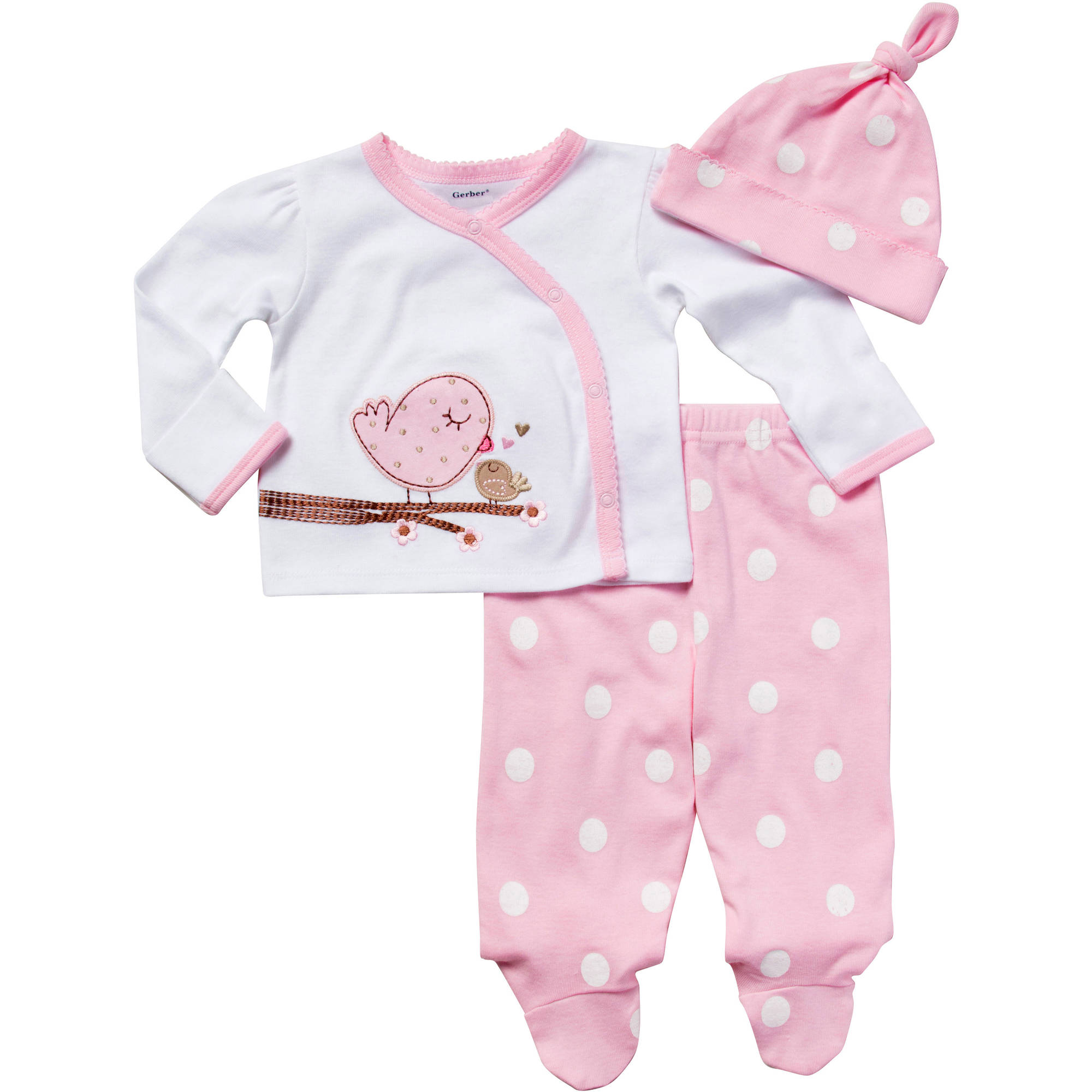 Gerber Newborn Baby Girl Bird Take Me Home Set