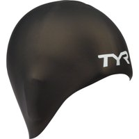 TYR Long Hair Wrinkle Free Silicone Adult Fit Cap In Black