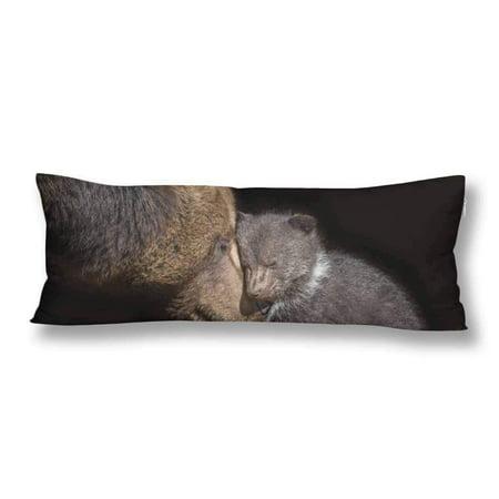 ABPHOTO Brown Bear Body Pillow Covers Pillowcase Throw Pillows 20x60 inch ()