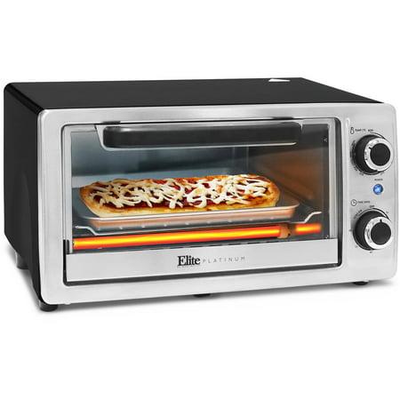 Elite Platinum 4-Slice Toaster Oven Broiler, Stainless Steel