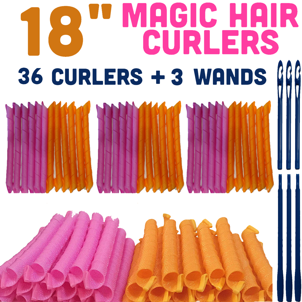 MAGIC HAIR CURLERS PACK OF 3 (18 INCHES/45 CM) - TOTAL 36 CURLERS AND 3 LONG WANDS.