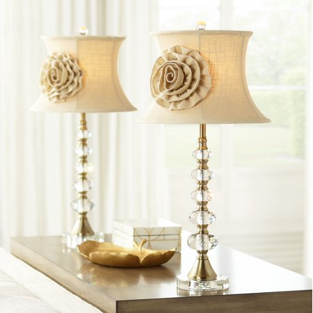 Vienna Full Spectrum Hilary Flower Shade Crystal Column Table Lamps Set of 2