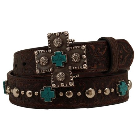 (Ariat Western Womens Belt Leather Cross Studs Brown A1517802)