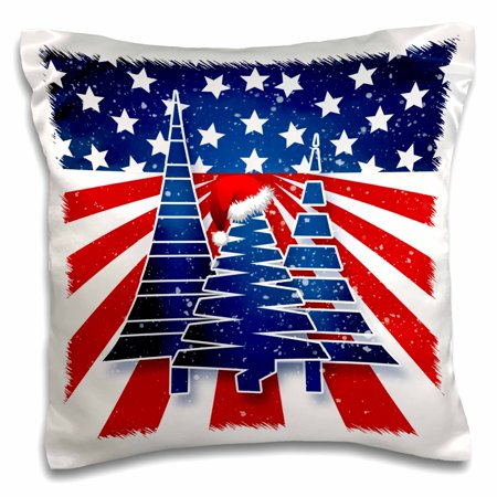 3dRose Stars and Stripes Christmas Trees with Santa Hat in Red White and Blue - Pillow Case, 16 by 16-inch