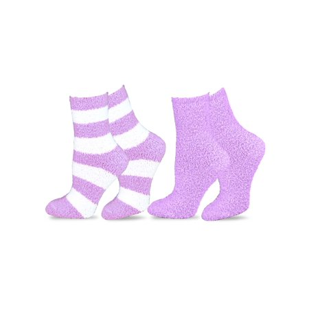 TeeHee Fashionable Cozy Fuzzy Slipper Women's 2 Pairs Crew Socks](Pink Knee High Socks)