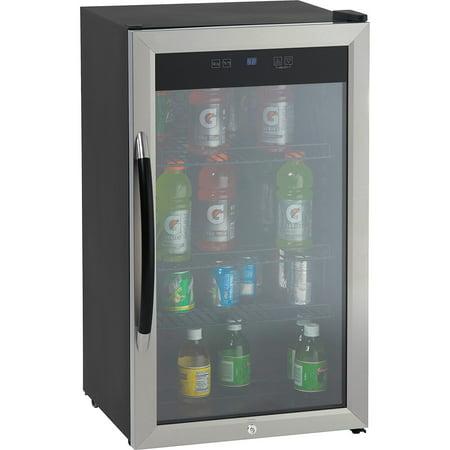(Avanti Showcase Beverage Cooler with Stainless Steel Door Frame and Dual-Pane Glass Door)