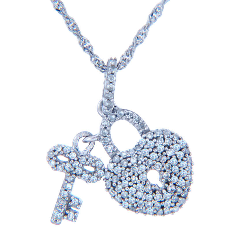 Valentines Special Heart Diamonds - White Gold Heart Lock...