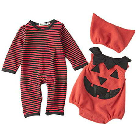 StylesILove Chic Halloween Baby Boy 3-PC Costume Set With Hat (12-18 Months, Pumpkin) - Baby Halloween Costumes