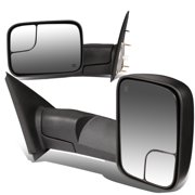 For 2002 to 2009 Ram 1500 / 2500 / 3500 Pair of Black Powered + Heated Glass + Manual Foldable Side Towing Mirrors 05 06 07 08