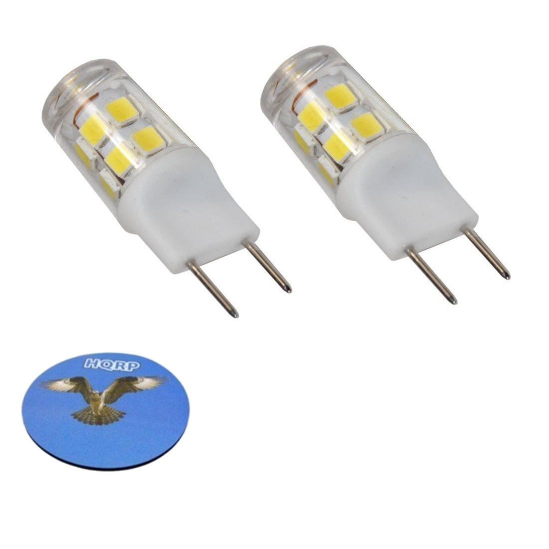 HQRP 2-Pack G8 Bi-Pin 17 LEDs Light Bulb SMD 2835 Cool White for Bathroom Vanity, Chandeliers, Track, Under Counter Kitchen, Kitchen, Landscape Lighting plus HQRP Coaster