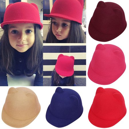 Fashion Caps Colors Cat Derby Ears Felt Children Cap Hat Bowler Cute Girls Hats Xmas Gift](Girls Christmas Hat)