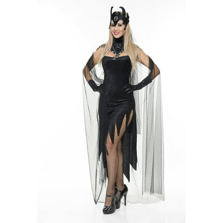 Womens  Black Queen Evil Velvet Sorceress Adults Costume Dress