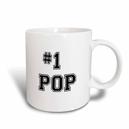 3dRose #1 Pop - Number One Pop - for worlds greatest and best dads - black text good for Fathers Day gifts, Ceramic Mug, 15-ounce