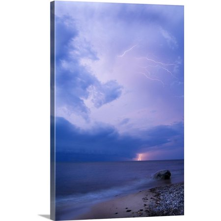 Great BIG Canvas Nancy Rotenberg Premium Thick-Wrap Canvas entitled Michigan, Upper Peninsula. Lightening over Lake Superior