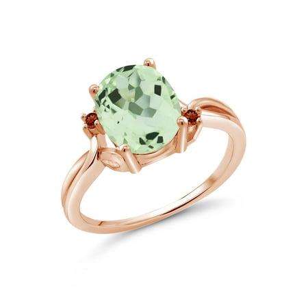 2.44 Ct Oval Green Prasiolite Red Garnet 14K Rose Gold Ring