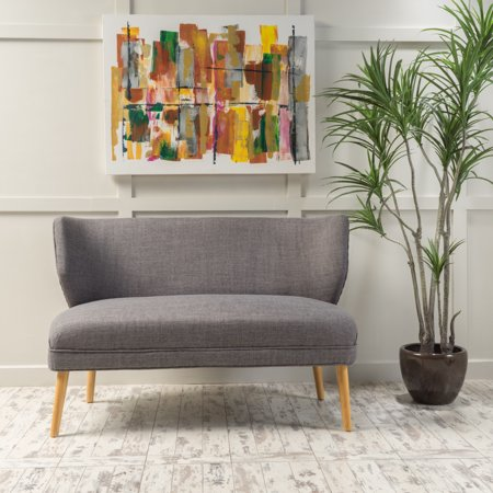 Noble House Ardine Mid Century Modern Fabric Loveseat Sofa Settee, Light Grey
