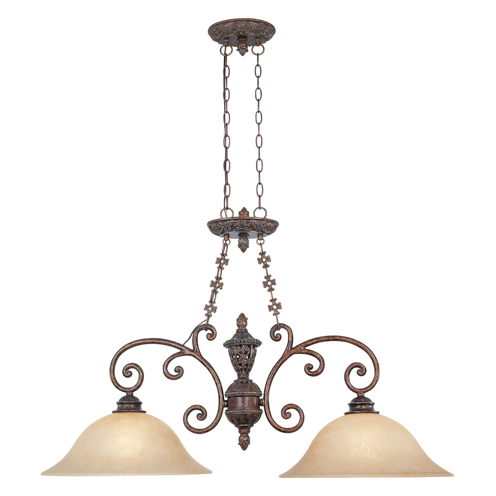 Designers Fountain 97538 Amherst 2 Light Island in Burnt Umber Finish