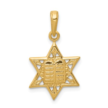14k Yellow Gold Jewish Jewelry Star Of David Tablets In Center Pendant Charm Necklace Religious Judaica Gifts For Women For - Golf Center