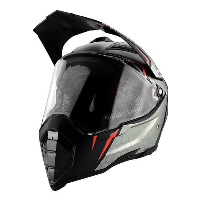 RS Helmets RS-8686C-Medium Off Road Motocross Motorcycle Helmet Black & Silver - Medium