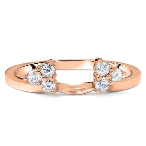 1 4ct Diamond Guard Ring Enhancer Wedding Band 14K Rose Gold