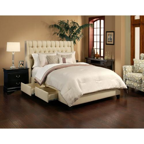 Seahawk Designs Cambridge Wheat 4 Drawer Upholstered Platform Storage Bed