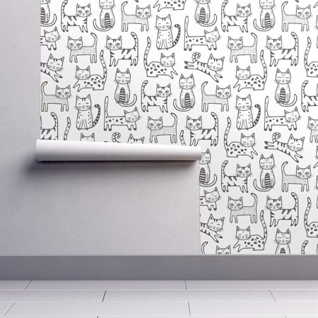 Removable Water-Activated Wallpaper Kitten Kitten Cats Black White Pets Kitten