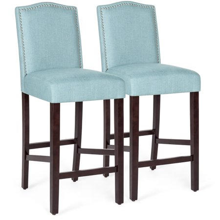 Best Choice Products Set of 2 30in Contemporary Upholstered Linen Counter Height Armless Backed Accent Breakfast Bar Stool Chairs for Dining Room, Kitchen, Bar w/ Studded Nail Head Trim - Blue ()