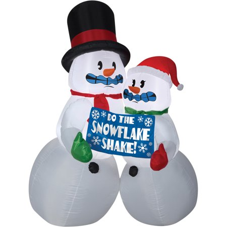 Shivering Snowman Couple Animated Airblown Christmas Decoration - Halloween Snowman