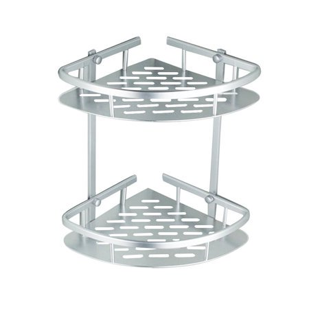 Akozon Aluminum Shower Corner Shelves Storage Basket Holder Heavy Duty Wall Mounted Triangle Shower Caddy Bath Rack Organizer Corner Bathroom Shelves, 2 Tier / 3 Tier
