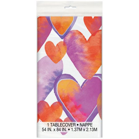 Watercolor Hearts Valentine's Day Plastic Tablecloth, 84 x 54 in, 1ct - Valentines Tablecloth