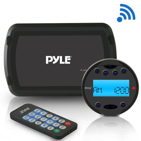 PYLE PLMR93W - Round Waterproof Marine Radio - 200W Aquatic Boat In Dash Stereo Receiver System with Bluetooth, AM FM, Digital LCD, USB, AUX, RCA - Includes Wiring Harness, Bracket, Remote Control