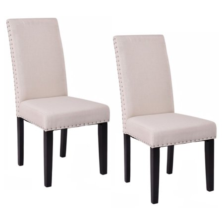 Costway Set Of 2 Dining Chairs Fabric Upholstered Armless Accent