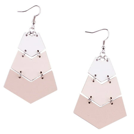Women Handmade Lightweight Geometric Chevron Bohemian Leather Earrings (Beige)