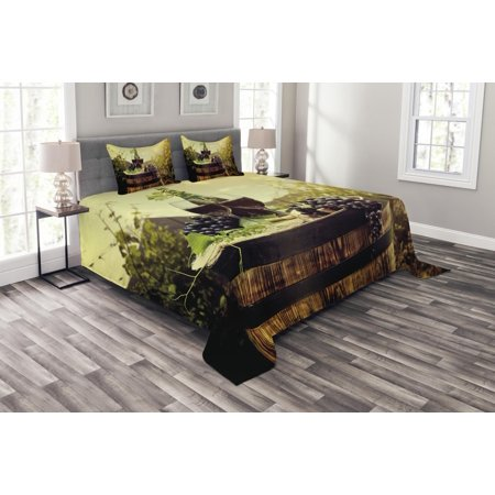 Wine Bedspread Set, Scenic Tuscany Landscape with Barrel Couple of Glasses and Ripe Grapes Growth, Decorative Quilted Coverlet Set with Pillow Shams Included, Green Black Brown, by Ambesonne