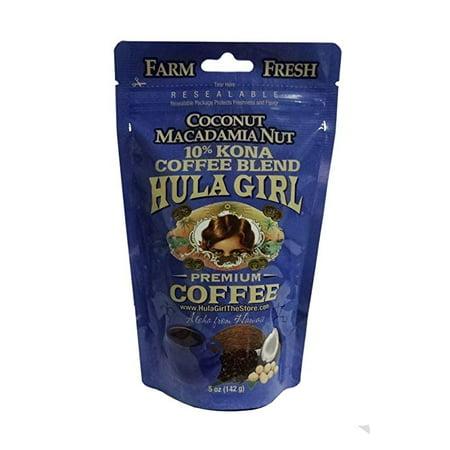 Hula Girl 10% Hawaiian Kona Coffee Coconut Mac Nut 5oz Bag