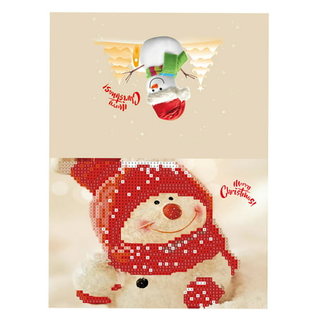 Merry Christmas Cards DIY Diamond Painting Handmade Cards Round Drill Greeting Cards Rhinestones Embroidery Arts Crafts Gifts](Diy Halloween Card Ideas)