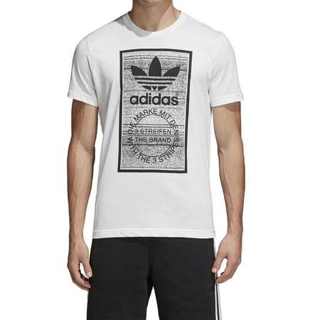 New Men's Adidas Original Traction in Action Trefoil Logo Tee Shirt T-Shirt Crewneck Graphic White