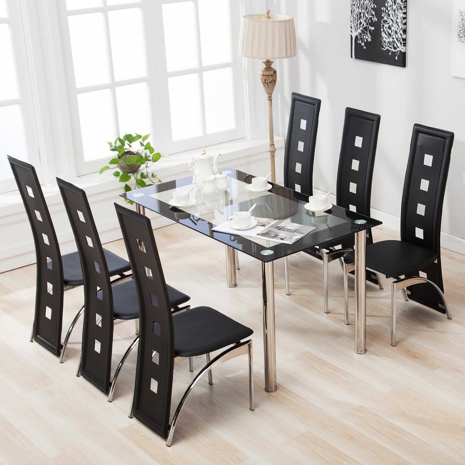 Marvelous Mecor Dining Table Set With 6 Leather Chairs Kitchen Furniture Black 7  Piece Glass   Walmart.com
