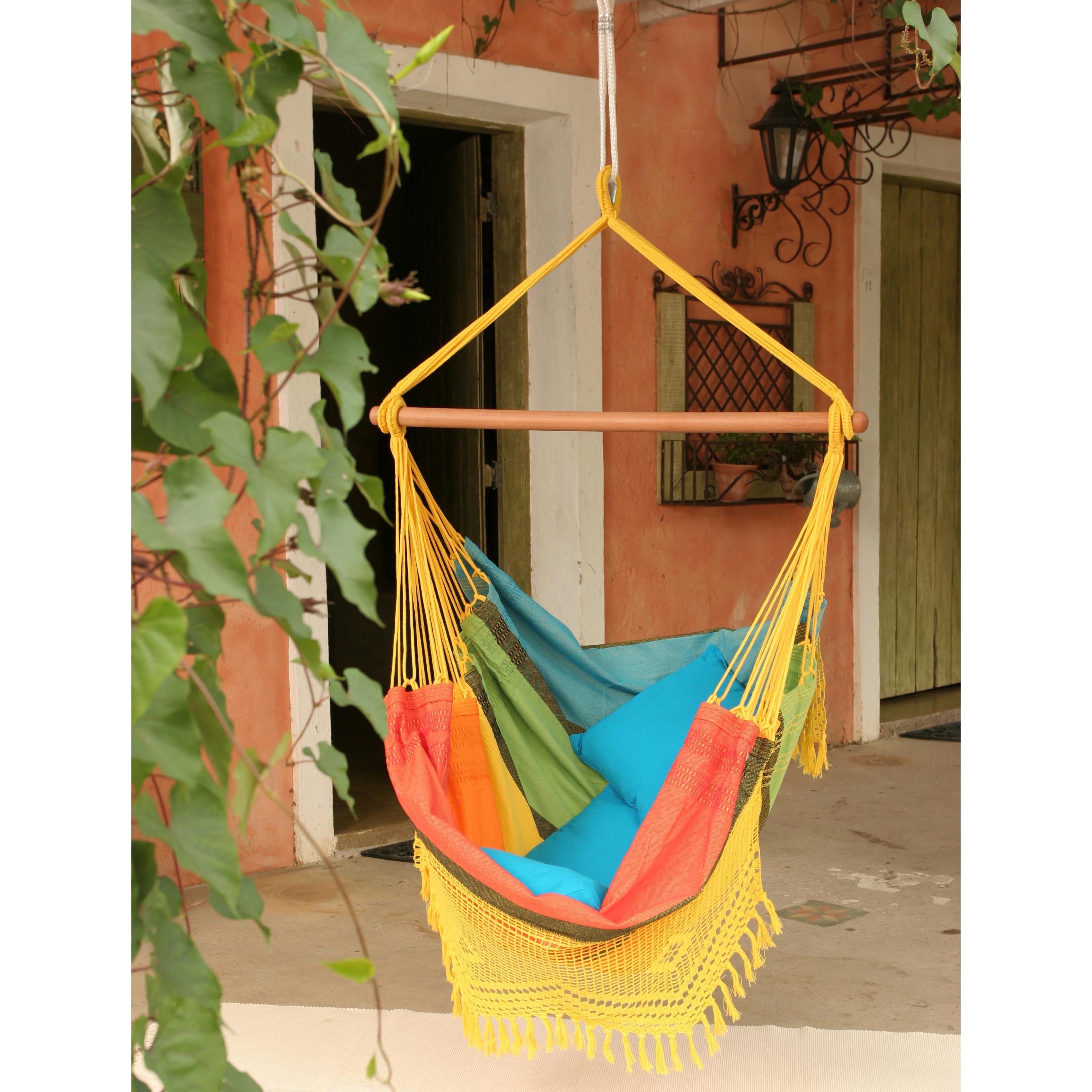 Brazilian Cotton Fabric Hammock Chair with Fringe