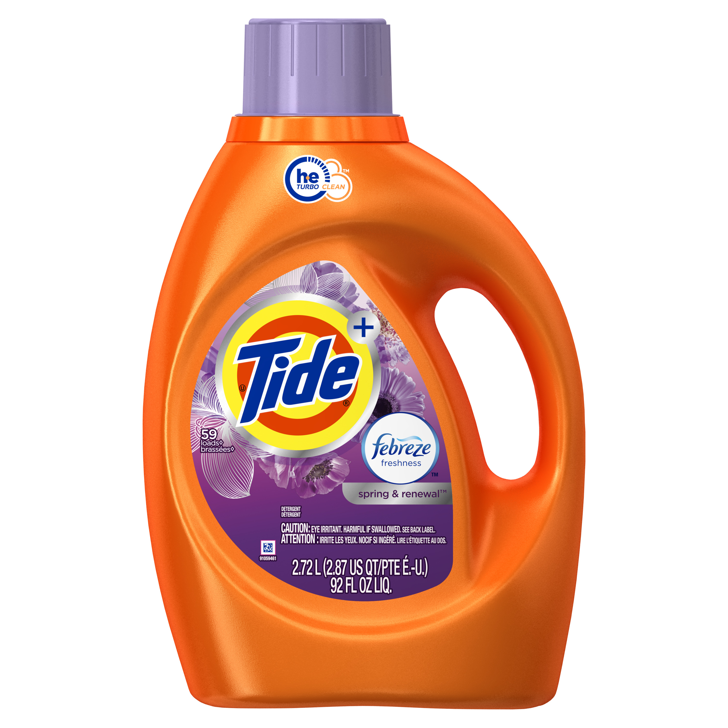 Tide Plus Febreze Freshness, Spring And Renewal Scent, HE Turbo Clean Liquid Laundry Detergent, 92 oz, 59 loads