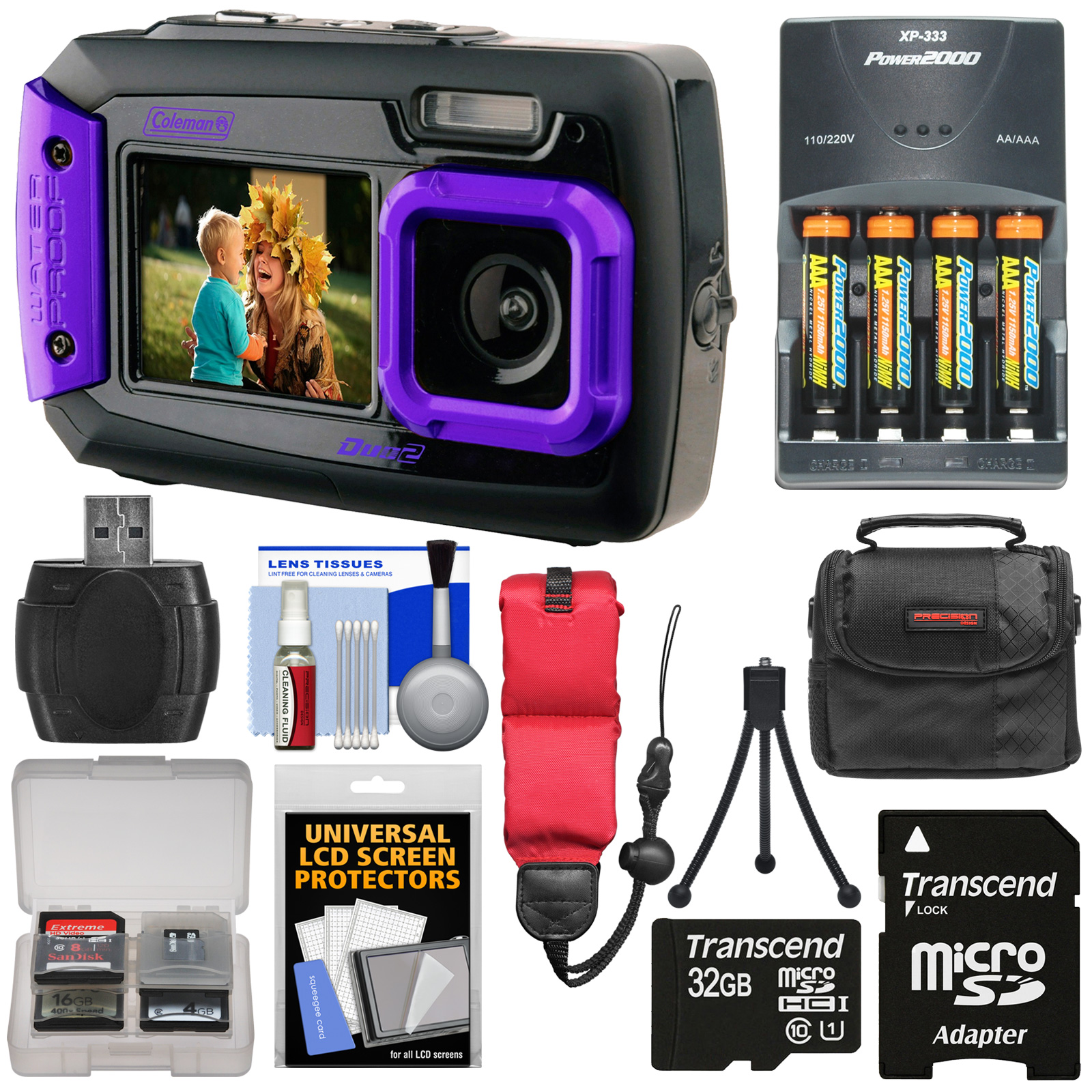 Coleman Duo 2V9WP Dual Screen Shock & Waterproof Digital Camera (Purple) with 32GB Card   Batteries & Charger   Case   Float Strap   Kit